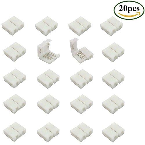 LitaElek 10mm 4 pin RGB 5050 Conector de tira de LED, Gapless Strip para Strip Connector Adapter Sin soldadura PCB LED Conector para SMD 5050 RGB LED Strip (20 piezas)