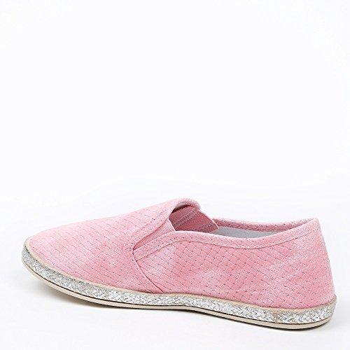 Ideal Shoes–slip-on geflochten Glitterlack Dalila Pink - Rosa