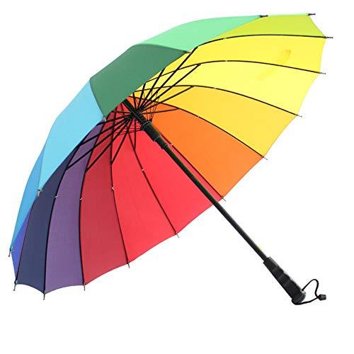 Mumozzz Einfacher klassischer einfarbiger Regenschirm mit langem Griff, Unisex, Durchmesser 100 cm, Regenbogen - Regenbogen-licht Gesunde