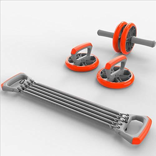 3 In 1 Bauch-Rad-Kit/Abdominal Roller/Liegestütze Griff/Federspanner/Indoor Sport Brustexpander/Kerntraining Ganzkörper- / Sport-Ausrüstungs-Kit Professional Edition.
