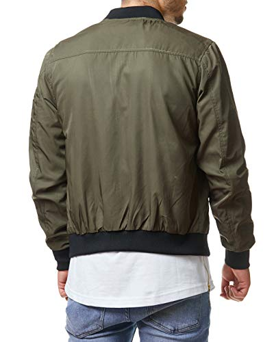 EightyFive Herren Bomber-Jacke Übergangsjacke Schwarz Khaki Camouflage EFS150, Größe:S, Farbe:Khaki 2 - 2