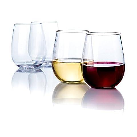 aisige 16Unze ohne Stiel Wein Gläser Set–Classic Langlebig Wein Tassen ideal für alle Anlässe–verpackt in einer Geschenkbox–Top Geschenkidee.–bruchsicher Kunststoff Wine Cups (4Stück)