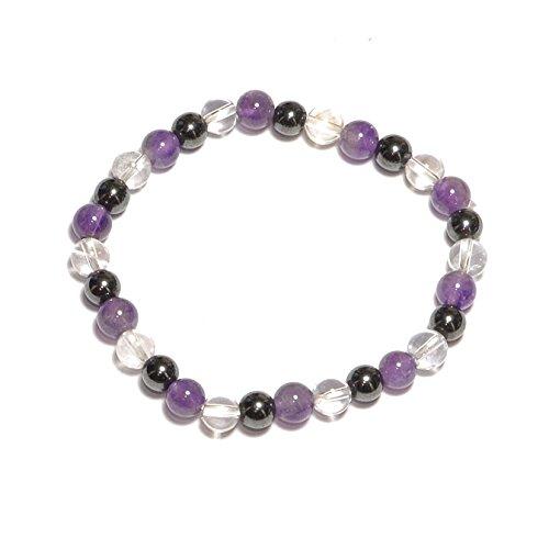 Bracelet boule en Hématite, Améthyste et Cristal de Roche 6mm- Pierre Naturelle - Lithothérapie Reiki - Anti-Stress