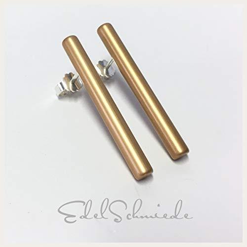 Ohrstecker in eloxiertem Aluminium mit 925/- Silber Stift - apricot- - Apricot-schimmer
