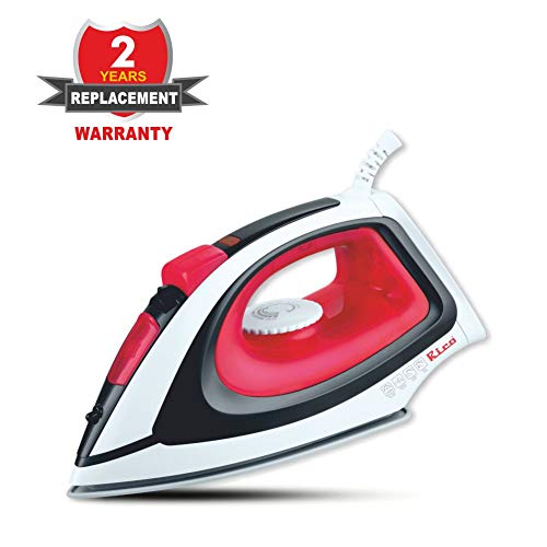Rico Steam Iron Anti Calc Anti Drip Iron Self Clean Full Function Titanium-2000W with 22g/min Continuous Steam, 0.8g/Shot Steam Burst,Vertical Steam & Spray Function,330ml Water-Tank