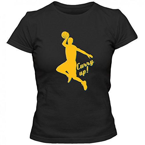 Stephen Curry Up Premium T-Shirt | BasketballShirt | NBA | Hurry Up | Frauen | Shirt Schwarz (Deep Black L191)