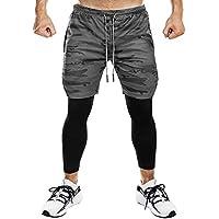 Superora Pantalones Cortos Legging Mallas Hombre Deporte Chándal Deportivos Compresión Interna con Bolsillo Incorporado y Bolsillo Transpiración de Secado Rápido