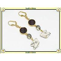 Pendientes paloma pájaro paloma resina latón dorado oro blanco 24 quilates regalos personalizados Navidad aniversario ceremonia de boda invitados día de la madre parejas mujer