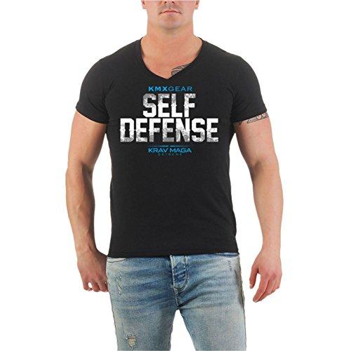 Männer und Herren T-Shirt Krav Maga Self Defense (mit Rückendruck) Größe S - 8XL V-Neck schwarz