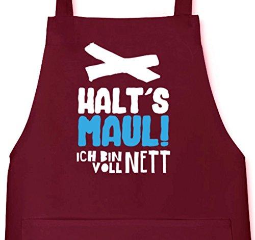 Shirtstreet24, Voll Nett, Grillen Barbecue Grill Schürze Kochschürze Latzschürze, Größe: onesize,Burgund (Volle Latzschürze)
