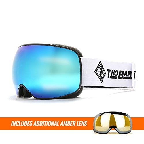 Two Bare Feet Summit XL auswechselbarem Objektiv Snow Skibrille Black / Revo Blue + Additional Amber Lens xl