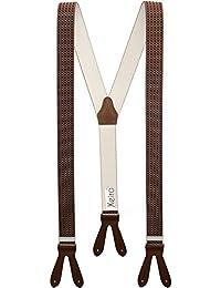Xeira®Bretelles de haute qualité pour Femmes / Hommes à boutonnière - Cuir véritbale - Taille réglable jusqu'à 190cm