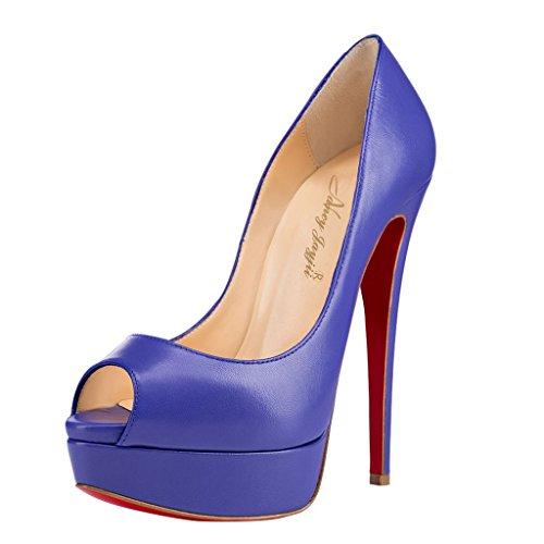 NANCY JAYJII - Femmes - Stiletto - Blanc brillant ou Bleu - Cuir véritable - Talon aiguille - Bout rond ouvert Bleu