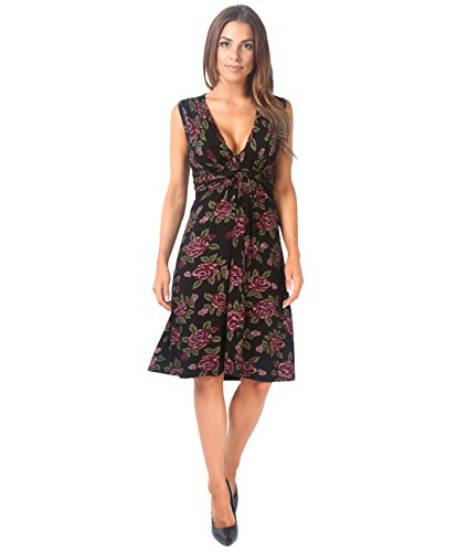 KRISP® Damen Kleid mit Geknotetem Dekolleté Schwarz (6252)