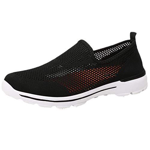 friendGG Sommer Herren Hollow Mesh Leichte Atmungsaktive Sneakers Slip-On Freizeitschuhe Turnschuhe Mode Laufende Schuhe Laufschuhe Fitness StraßEnlaufschuhe Atmungsaktiv rutschfeste Sportschuhe