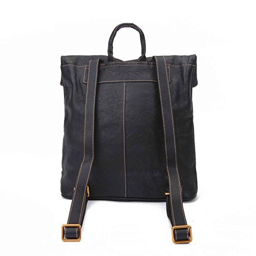 BAIGIO Sac d'épaule en cuir véritable en première couche Sac à main Sac de style vintage et simple Sac zipé pour les filles et les femmes, Noir Noir