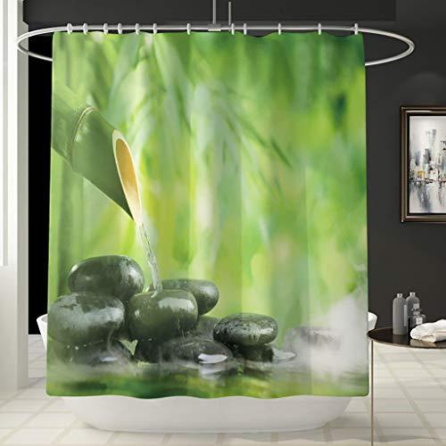 Galy 3D Digitaldruck Grüne Pflanze Kopfsteinpflaster Duschvorhang für Bad Duschvorhänge,Badewanne Vorhang Polyestergewebe Anti Schimmel Antibakteriell Wasserdicht,mit 12 Vorhanghaken
