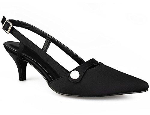 Greatonu Damen Sandalen Kitten Absatz Slingback Pointed Toe Pumps Schwarz Größe 38EU Kitten-sandalen