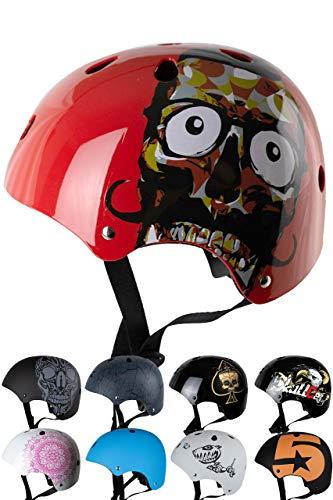 Skullcap® BMX Helm ☢ Skaterhelm ☢ Fahrradhelm ☢, Herren | Damen | Jungs & Kinderhelm, schwarz matt & glänzend (Red Ocean, S (51 - 54 cm))