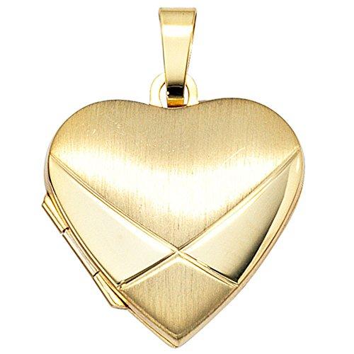 Anhänger Medaillon Amulett als Herz 585 Gold mattiert Halsschmuck Unisex