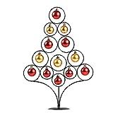 Albero di Natale con filo metallico da tavolo con ornamenti - Albero di Natale in ferro con decorazioni in oro e rosso con pallina di Natale, decorazione antisfondamento per tavolo da casa