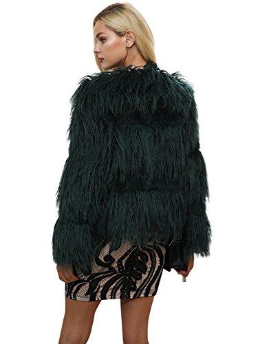 Simplee Apparel Damen Faux Fur Jacek Winter Elegant Warm Kunstfell Jacke  Mantel Coat Grün
