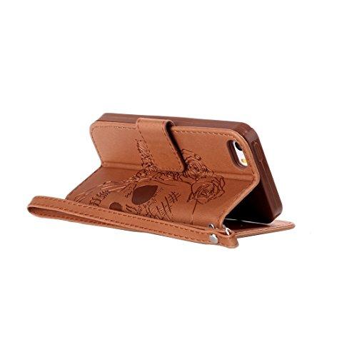 iPhone Case Cover Pour iPhone 5 & 5s & SE Crazy Horse Texture Crâne Horizontale Flip étui en cuir avec Holder & Card Slots & Portefeuille & Lanyard ( Color : Dark blue ) Brown