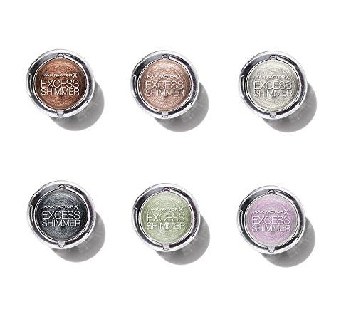 XXL Pack mit 6 Verschiedene Farbe Max Factor X Excess Shimmer Lidschatten Eyeshadow ,10 Pearl, 25 Bronze, 05 Crystal, 15 Pink Opal, 30 Onyx, 20 Copper