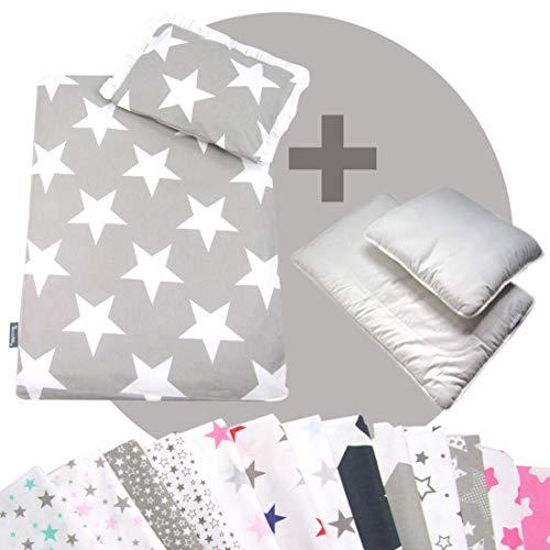 Rawstyle 4 tlg. Set Bezug (STARS) für Kinderwagen Bettwäsche Decke + Kissen + Füllung (Design 4)