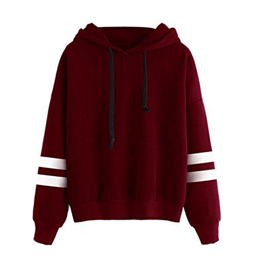 LHWY Donne Lunga manica Felpa con cappuccio Maglia con cappuccio Pullover top camicetta (M, Rosso)