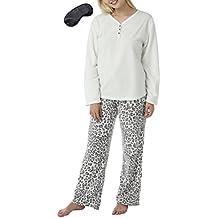 Mujer Suave Cálido Para Invierno Cómodo Lana Larga Conejo Conjunto Pijama