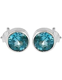 925 Sterling Silver Blue Topaz Gemstone Stud/post Earrings Jewelry 1.54g cci fashion stylish & classy ring design for girls and women by CrystalCraftIndia