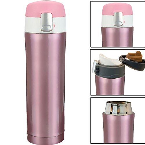 HOMETOOLS.EU® - Coffee-to-Go Thermo Becher | Trink-Flasche | hält 10h heiss, Verschluss-Sicherung, Ergonomisches Mundstück | 550ml, pink rosa