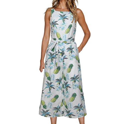 MOIKA Damen Outfits, New Frauen-Sleeveless Bohemien Blumendruck-Overall-zufälliges Breites Bein Keucht Feiertags-Ausstattungen Overall(XL,Grün) (Grüne Velour Hose)