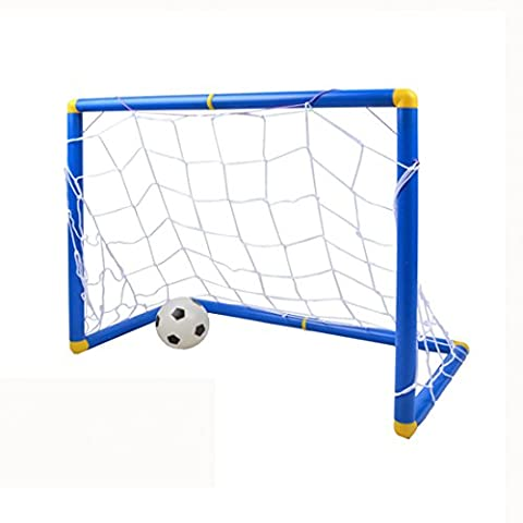 Finer Shop Small Size Mini Kids Sports Football Soccer Gate Goals with Soccer Ball and Pump Football Soccer Toy Set Practice Scrimmage Game Indoor Outdoor Use - Blue +