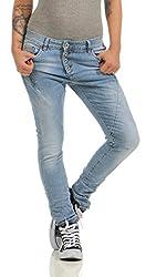 Fashion4Young 11424 LEXXURY Damen Jeans Röhrenjeans Hose Boyfriend Baggy Haremscut Damenjeans Slim-Fit (hellblau, XS-34)