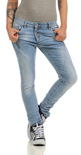 11424 LEXXURY Damen Jeans Röhrenjeans Hose Boyfriend Baggy Haremscut Damenjeans Slim-Fit (hellblau, XS-34)