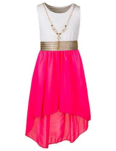 Unbekannt Kinder Sommer Fest Kleid für Mädchen Sommerkleid Festkleid mit Kette in vielen Farben M288wpi Weiss Pink Gr. 12/140 / 146