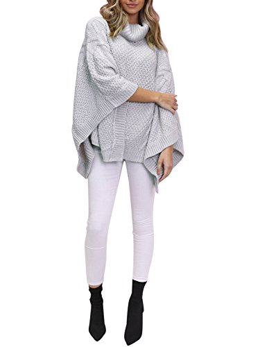 Simplee Apparel Damen Sweater Winter Herbst Casual Loose Oversize Rollkragen Strick Pullover Ponchos Capes Grau