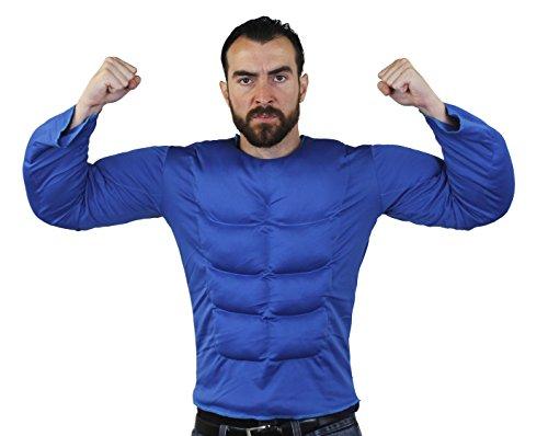 ILOVEFANCYDRESS Brust Muskel KOSTÜM IN 6 2 VERSCHIEDENEN GRÖßEN SUPER FÜR Jede SUPERHELDEN VERKLEIDUNG ODER Wrestler KOSTÜM= IN DER Farbe BLAU & GRÖßE XLarge