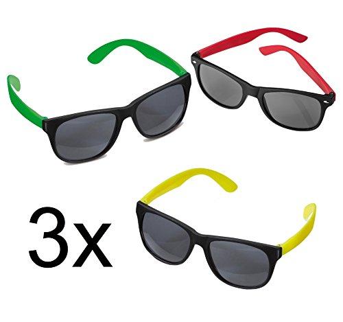 le Sonnenbrille ohne Stärke verspiegelt für Party Karneval Fasching Herren und Damen blau, gelb, rot Set Spaßbrillen Nerd Style neon (3x Classic neon (rot, gelb, grün)) (Klar Verspiegelten Sonnenbrillen)