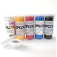 Efcolor - Set de 5 colores en polvo (10 ml, carta primaria, 2 tamis, para esmaltes en frío, cocción a 150 °C)