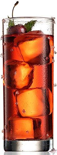 Paksh novità italiano bicchieri highball [set di 6] clear heavy base alta da bar in vetro–bicchieri per acqua, succo, birra, vino, e cocktails | 368,5gram
