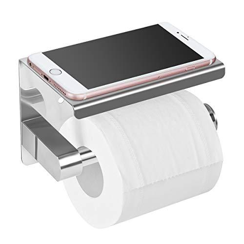 Toilettenpapierhalter Ohne Bohren mit Ablage,SanGlory klorollenhalter Selbstklebend Toilettenpapierrollenhalter Edelstahl Klopapierhalter Wc Papier Halterung Rollenhalter Klorollenhalter zum Kleben - Toilettenpapier Halter Chrom