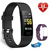 Juboury Fitness socken mit Pulsmesser, Fitness Tracker Farbdisplay Wasserdicht IP67 Activity Tracker Uhr Smart Watch mit iPhone Android Geschenk Für Damen Herren und Kinder (schwarz)