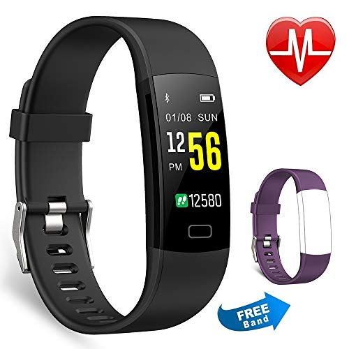 Juboury Fitness Armband mit Pulsmesser, Fitness Tracker Farbdisplay Wasserdicht IP67 Activity Tracker Uhr Smart Watch mit iPhone Android Geschenk Für Damen Herren und Kinder (schwarz) (Für Fitness Activity-tracker)