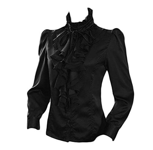 Nanxson Mujer Retro Encaje Mangas largas Camisa Blusa (M, Negro)