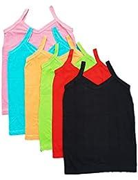SUNUO Girls Pure Cotton Plain Multi-Coloured Slip Kids (Combo of 6)