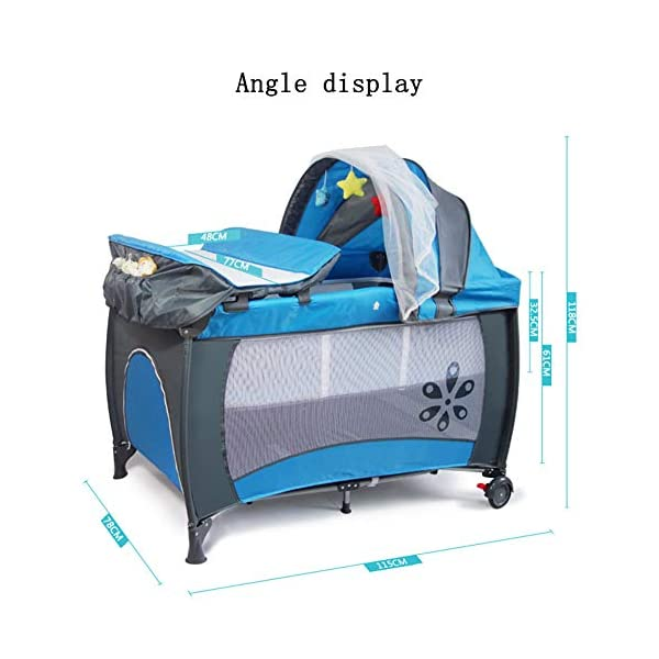 Mr.LQ Multifunctional Foldable Crib Portable Game Bed,Blue  [Folded Baby Cot]Due to its folding design, you can take it to anywhere as you like by packing it in the supplied carry bag, and it just takes you a while to fold or unfold it before using. [See-through safety mesh]It features mesh cloth on both sides, this netted areas allow your baby to see out clearly as well as an onlooker to see in to her/him, and it also offers great ventilation for your baby. [Easy to Move] It designed in two wheels and two legs, you can move it around easily without any problems with the help of two wheels, and there is no issue to worry the stability due to the two sturdy legs. 2