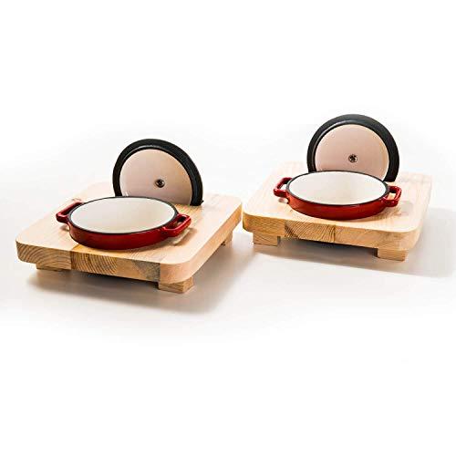 Mini Kasserolle mit Deckel und Emaille   Cocotte aus Gusseisen geeignet für Induktion und Backofen   2 x 250 ml